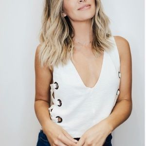 Selena Lace Up Tank.  Seen on Becca Tilley